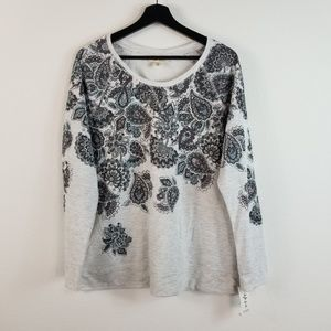 Style & Co Paisley Print Sweater Top